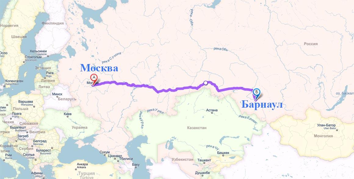 Расстояние между Москвой и Барнаулом на карте
