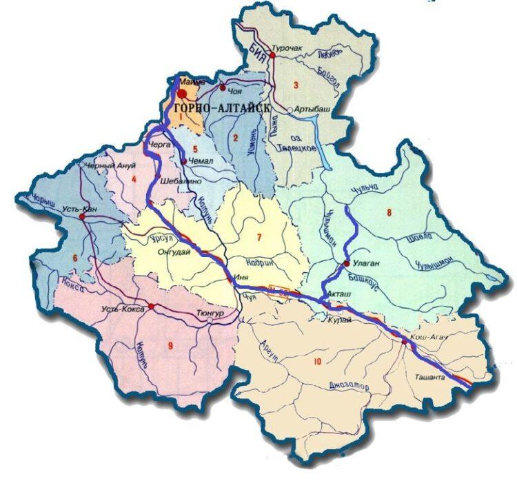 карта горного алтая