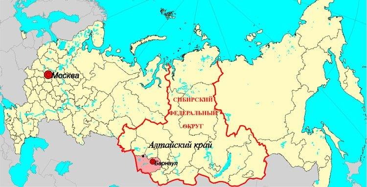 Алтайский край на карте