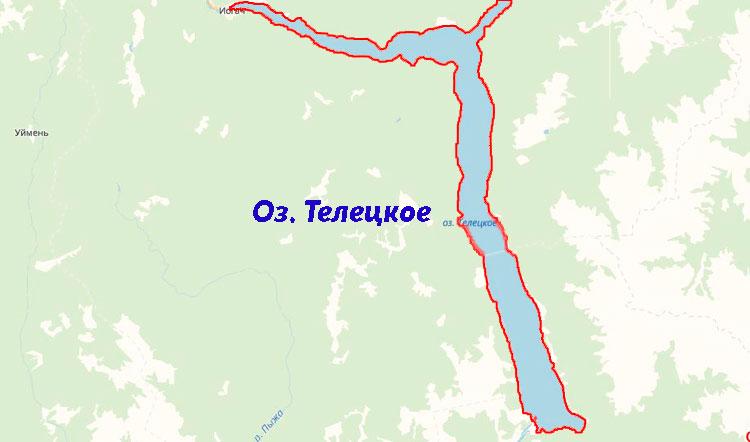 Телецкое озеро на карте