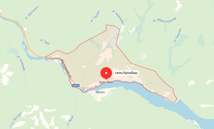 село Артыбаш на карте