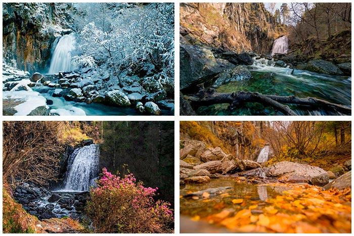водопад в разное время года
