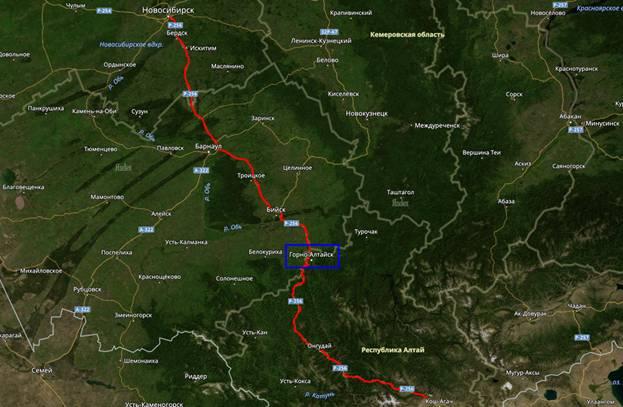 маршрут до горно-алтайска