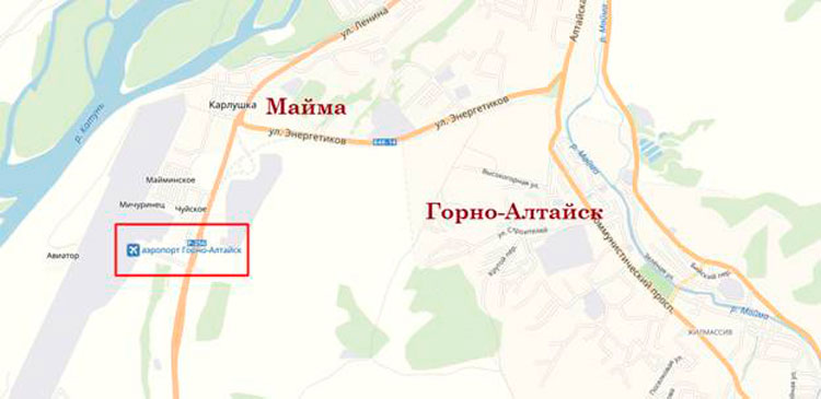 расположение на карте аэропорта