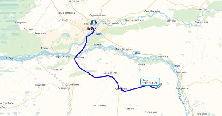 маршрут от Бийска до лебединого озера