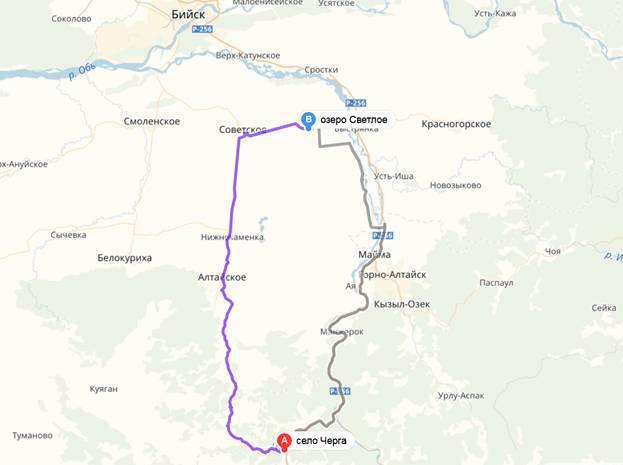 маршрут село Чарга до озера Светлое